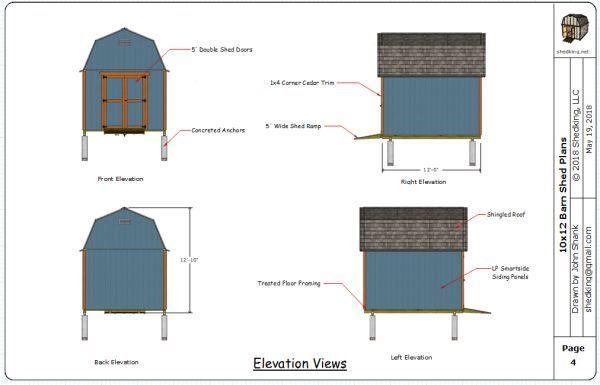 10x12 gambrel shed plans elevation views.