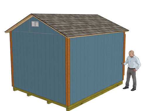 10x12 gable shed plans rear left view