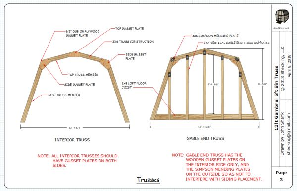 2 story shed plans include interior and gable end trusses