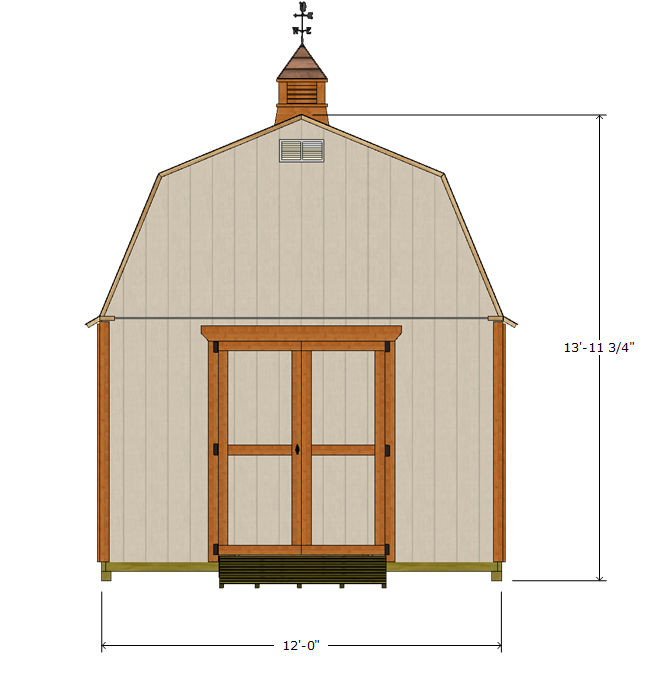 12x12 gambrel roof shed plans front elevation