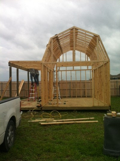12x16 barn with porch framing detail