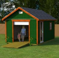 12x16 gable with roll up shed door