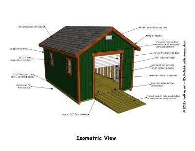 12x16 Gable Storage Shed Plans with Roll Up Shed Door – 12X18 Garage Plans