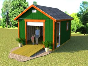 Gable roof 12x16 shed plans with roll up shed door.
