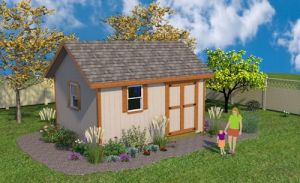 Gable style 12x16 shed plans with double shed doors.