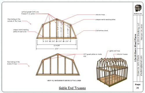 12x16 barn plan gable truss construction