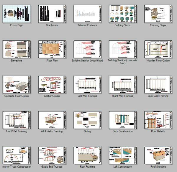 Blueprint pages for these 12x20 barn shed plans.