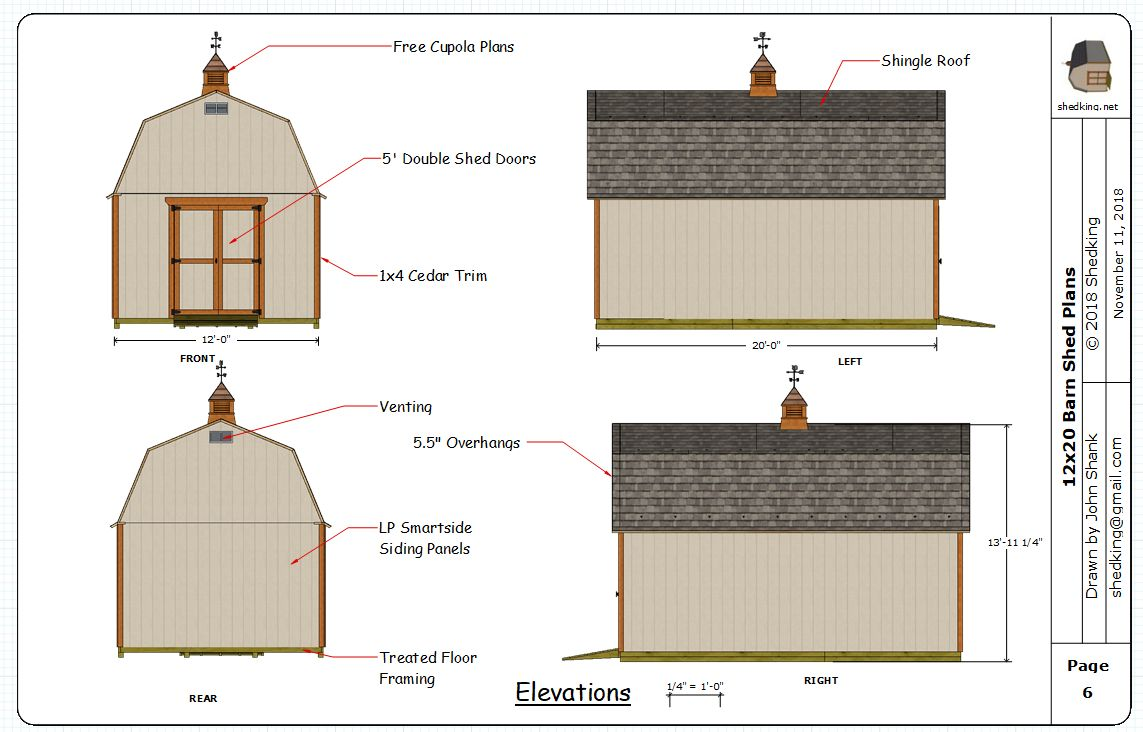 Elevation views in the 12x20 barn shed plans