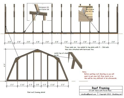 sample 12x24 barn blueprint detail