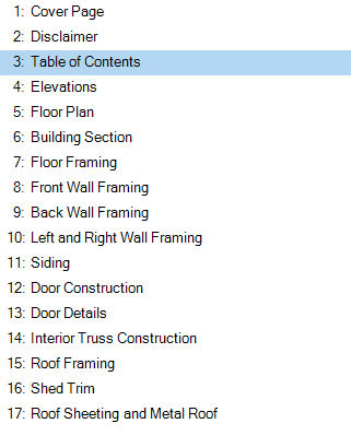 6x8 lean to shed plans table of contents