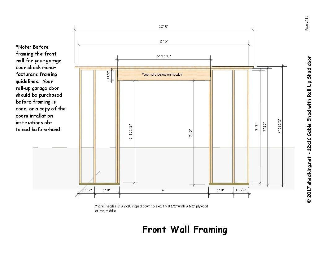 roll up shed door framing