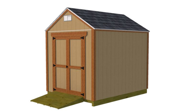 8x10 gable shed plans with double shed doors on end wall