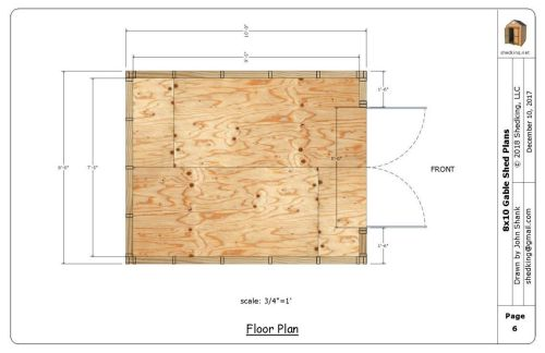 Floor plan for 8x10 gable shed plans