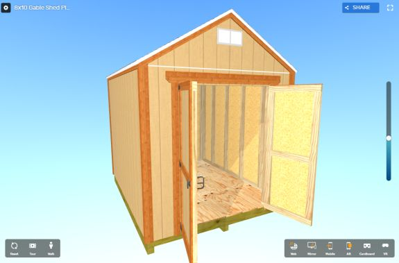 8x10 gable shed plans - view in 3d and virtual reality
