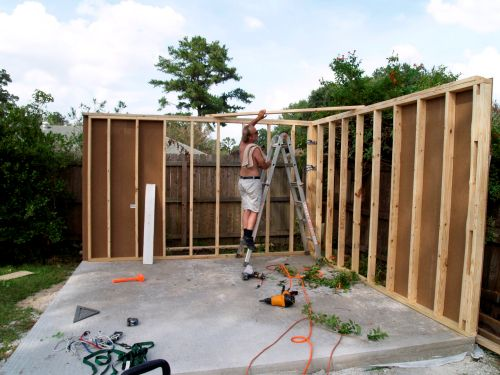 Getting the walls framed up on this 12x16 barn shed