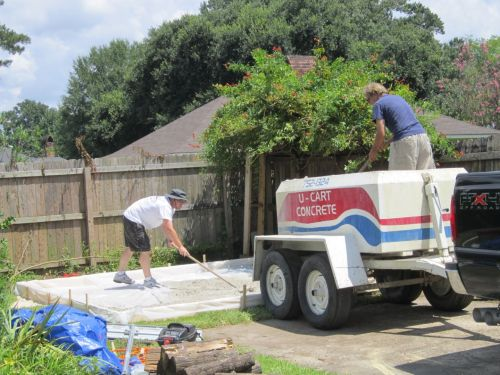 pouring the 12x16 concrete pad