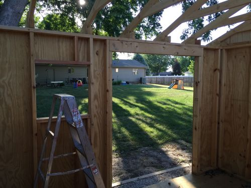 A view from the inside of Dans 12x10 saltbox