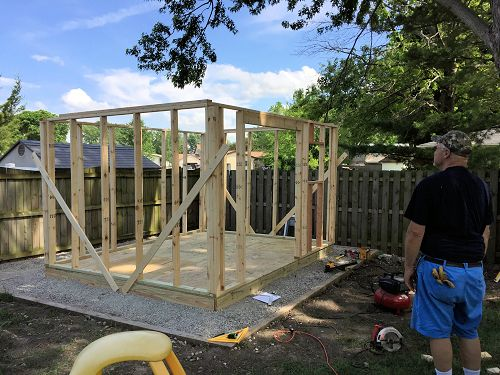 shed wall framing on Dans 12x10 saltbox shed