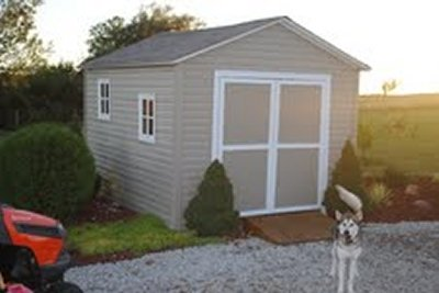 Barry built this 10x12 gable shed using my 10x12 gable shed plans.