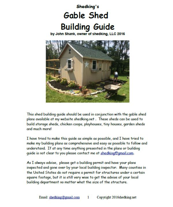 Cover page of 12x16 garden shed building guide