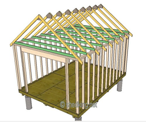 gable shed roof with ceiling joists in place