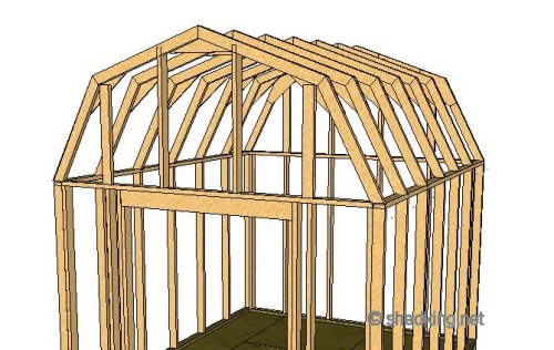 Shed roof gambrel how to build a shed shed roof for Gambrel roof barn kits