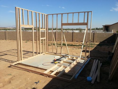 standing walls up for the playhouse shed
