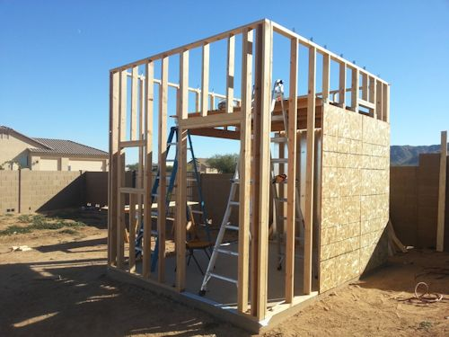 loft framed in for the playhouse shed