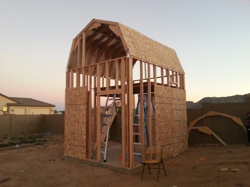 sheeting the trusses for the playhouse shed