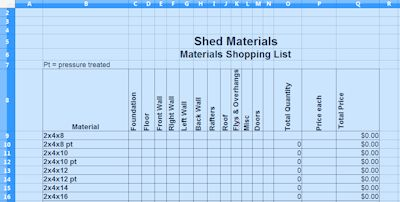 materials list spreadsheet