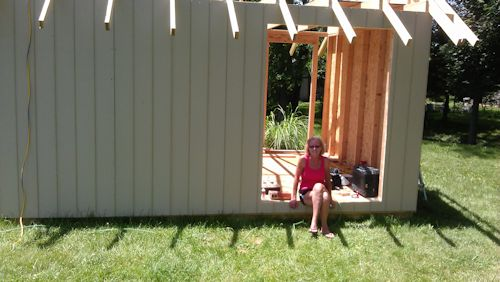 thats my wife sarah sitting on her shed