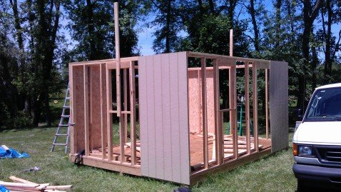walls and some siding up on sarahs garden shed