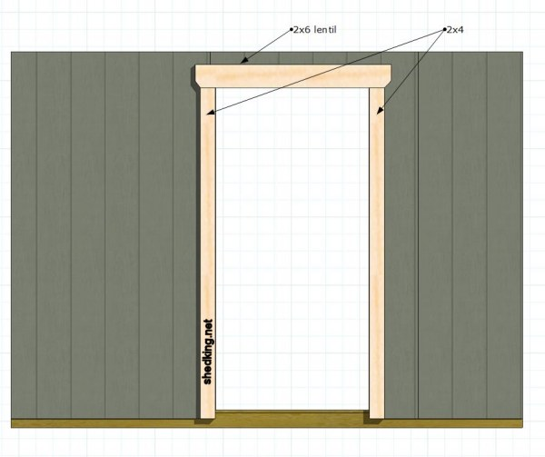 framing out the single shed door