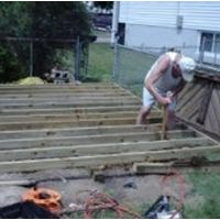 My Dad learning how to build a shed floor.