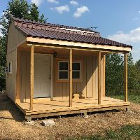 Picture of Tim's off grid cabin with nice big front porch.