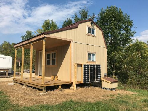 Tim's shed with porch turned into an off grid cabin.