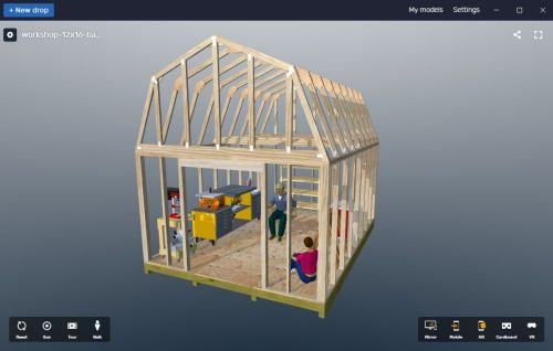 backyard shed designs using 3d virtual reality.